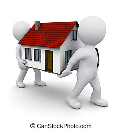 3D man with house - two 3D men carrying a model of house