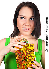 Cute woman with a gift