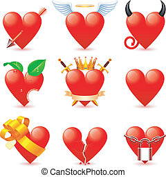 Heart icons. - Set of 9 heart icons.