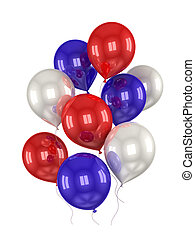 red, white, blue balls on a white background