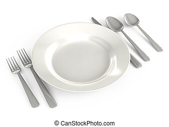 tableware in the restaurant on a white background