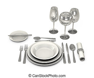 Classic Dinnerware in the restaurant - tableware in the...