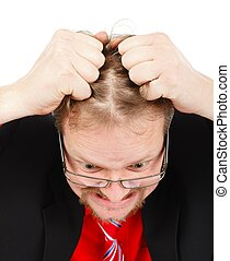 Distressed man pulling his hair - Angry distressed business...