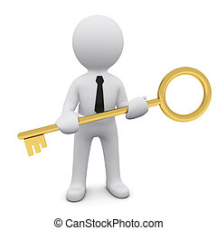3D man with a key - 3D man wearing tie and holding gold key