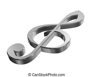 3d silver treble clef - silver treble clef on a white...