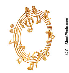 3d golden stave on a white background