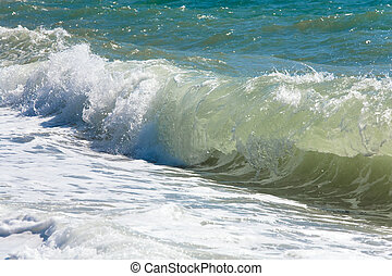 Sea surf wave nature background - Sea surf great wave break...