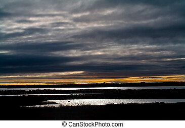 sunrise over the tundra - sunrise ovet the tundra in...