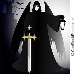 gothic - a dark gothic angel - black knight with a sword and...