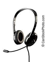 negro, elegante, auricular, microp