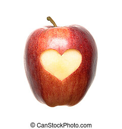 Apple Heart - An isolated apple with a carved heart