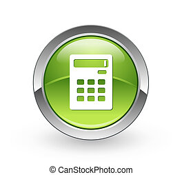 Calculator - Green sphere button - A high resolution green...
