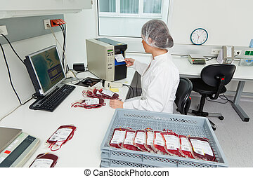 Examination of donor blood in the blood laboratory - One...