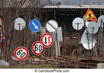 traffic signs - Photo of old used traffic signs