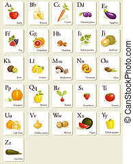 Fruits and vegetables alphabet cards , illustration