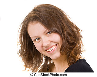 the curly-headed girl smile isolated on white