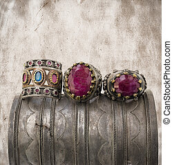 three ottoman rings on grunge background. - three ottoman...