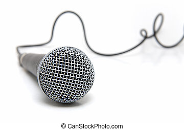 Microphone connected - Professional microphone with a cable...