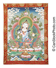 Tibetan thangka with Dorje Sempa - Inner part cut out of...