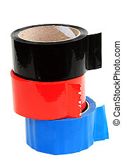Three rolls of color tape blue, red and black