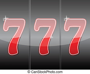 777 Winning in slot machine illustration design