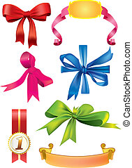 Set of vector bows and ribbons