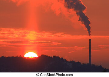 Sunrise and smokestack - chimney sun building chemical...