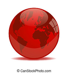 Red Earth Glass Orb