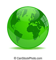 Green Earth Glass Orb