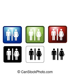 Women's and Men's Toilets - vector illustration of Women's...