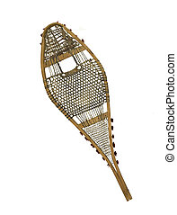 vintage damaged snowshoe on a white background