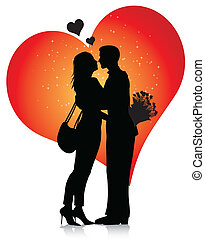 Couple silhouette with hearts isolated on white background
