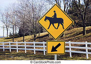 Horseback Riding sign in rural area