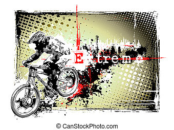 bike frame - illustration of the biker