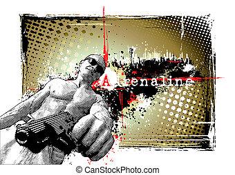 gunner frame - illustration of thegunner on the grungy...