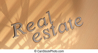Real estate - real estate word written in metal letters over...