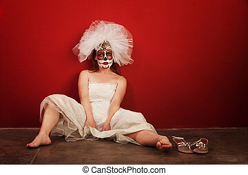 Sexy on Dia De Los Muertos - Sexy bride in makeup for All...
