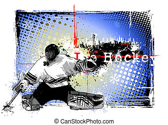 ice hockey poster - goalie illustration on the grungy...