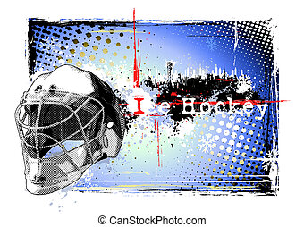 ice hockey poster - goalie helmet