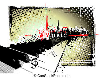 piano frame - piano on the grungy background