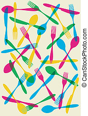 Cutlery transparency pattern background - Food, restaurant,...
