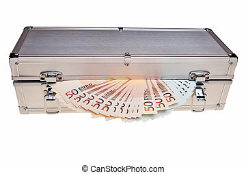 Euro banknotes in metal safe box over white background.