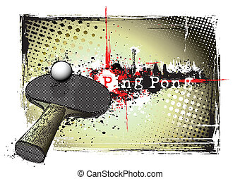 ping pong frame - ping pong racket on the grungy background