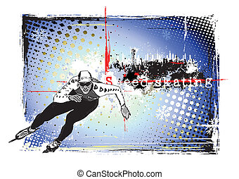 speed skating frame - illustration of the speed skater