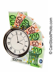 Classic pocket watch on Euro banknotes over white background.