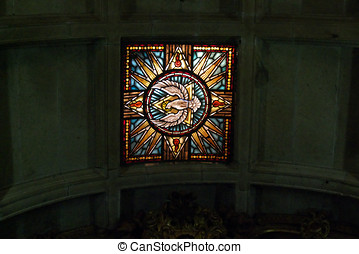 Stained glass ceiling window - Detailed stained glass...