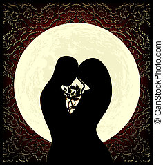 Lovers and moon - Silhouettes of lovers, a big full moon and...