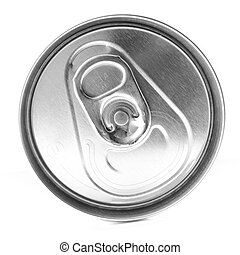 Soda Can Top - Top of an unopened soda can on a white...