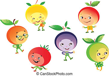 Funny fruits people - Vector illustration of funny fruits...