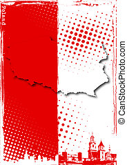 poland poster - poland map on the flag